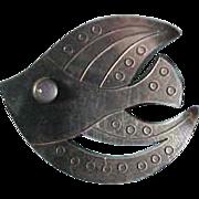 Vintage Hugo Grun Denmark Sterling Silver Fish Brooch with Moonstone
