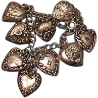Vintage Sterling Silver Puffy Heart Bracelet with Three Jeweled Hearts