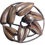 Mcclelland Barclay Large Sterling Silver Floral Leaf Brooch Pin