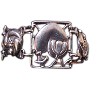Rare McClelland Barclay Sterling Silver Heart & Flower Bracelet