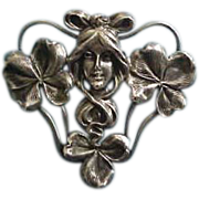 Huge William Kerr Sterling Silver  Art Nouveau Lady with Clover Brooch