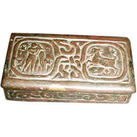 Tiffany Studios Bronze Zodiac Stamp Box