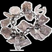 Vintage Sterling Silver State Charm Bracelet