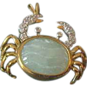 10K Yellow Gold Jade & Diamond Crab Pendant