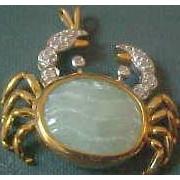 10K Yellow Gold Jade & Diamond Crab Pendant