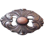 Kalo Arts & Crafts Sterling & Coral Brooch Pin