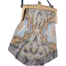 Large Whiting & Davis Dresden Watercolor Butterfly Bag Purse