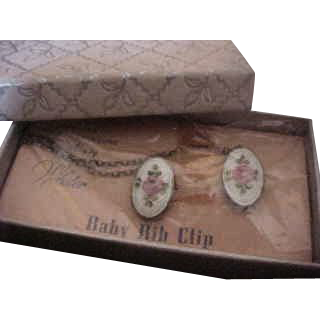 Sweet Sterling Silver with Enamel Rose Baby Clips by Webster NIB