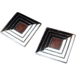 Awesome Vintage Margot de Taxco Sterling & Enamel Earrings in Deco Style