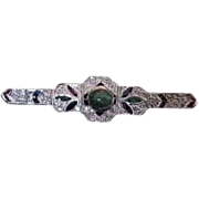 Vintage Brooch Pin  14K and Sterling Silver, Diamond,  Emerald, Sapphire and Ruby Gems