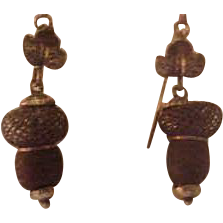 10K Gold Victorian Hair Mourning Acorn Earrings