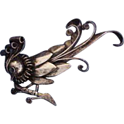 Rare Anton Michelsen Large Sculpted Sterling Silver Denmark Peacock Pin Brooch