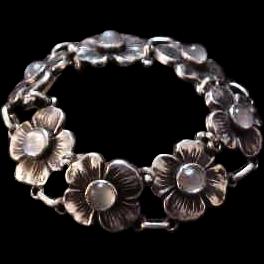 Carl Ruopoli Vintage Sterling Silver & Moonstone Floral Bracelet
