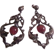 Ornate Peruzzi Sterling Silver Earrings with Carnelian