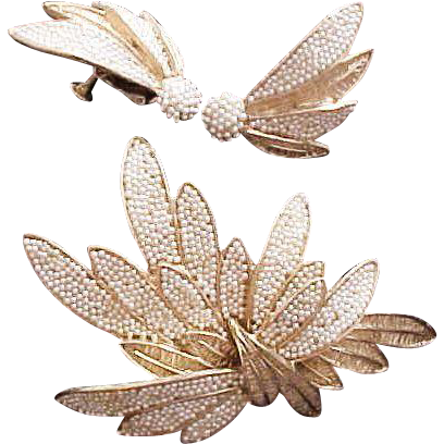 Vintage Vendome  Pin & Earring Seed Pearl Set