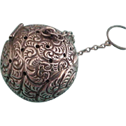 Frank Whiting Sterling Silver Repousse Tea Ball, Art Nouveau