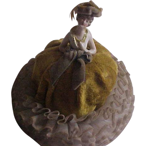 Elegant Porcelain Half Doll Pincushion Vanity item