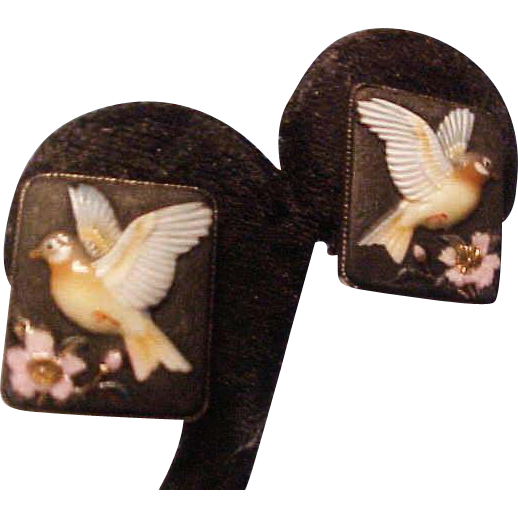 Rare ToshiKane Arita Japan Porcelain Earrings on Silver