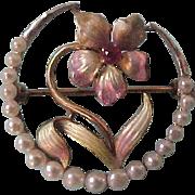 14K Art Nouveau Enamel & Seed Pearl Brooch