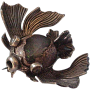 Rare Vintage  Sterling Silver and Boulder Opal Fish Brooch Pin