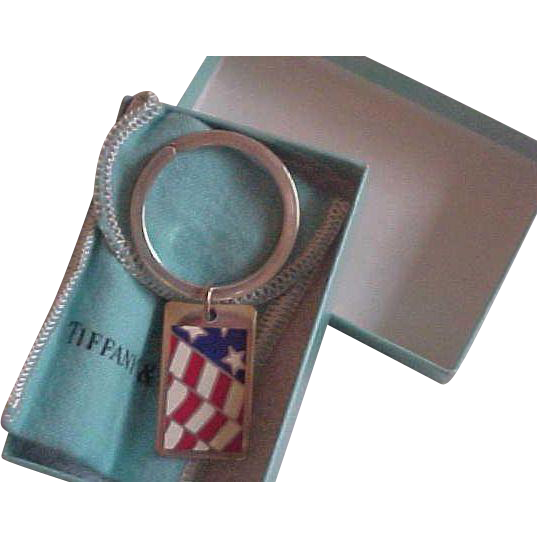 Retired Tiffany & Co. Sterling Silver & Enamel Flag Key Ring