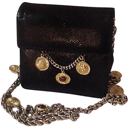 Vintage Judith Leiber Black Karung Purse  with Medallions & Gold Chain