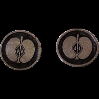 Georg Jensen Sterling Silver & Niello  Denmark Apple Cufflinks   111