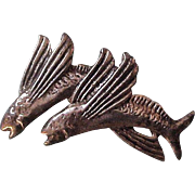 Vintage MING'S Sterling Silver  Malolo Flying Fish Brooch Pin