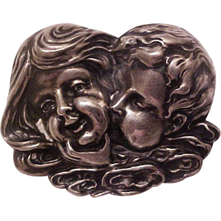 Rare 1904 Unger Brothers Sterling Silver Nouveau Brooch Pin