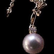 Mikimoto 18K Yellow Gold  Diamond and Pearl Pendant and Chain