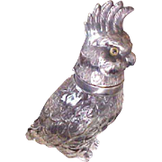 Sterling Silver and Cur Glass Cockatoo Decanter