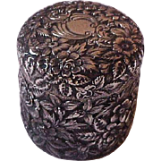 Victorian Sterling Silver Repousse  Galt Brothers & Co.  Vanity Jar