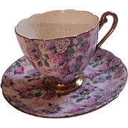 Vintage Shelley Pink Summer Glory Chintz Bone China Cup & Saucer - Red Tag Sale Item