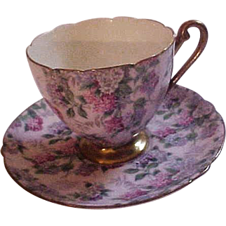 Vintage Shelley Pink Summer Glory Chintz Bone China Cup & Saucer