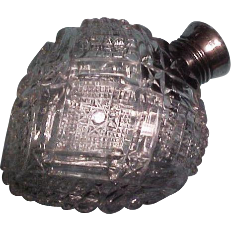 Unger Brothers Cut Glass & Sterling Silver Perfume Bottle