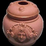Schafer & Vater Art Nouveau Pink Jasperware  Lady Hair Receiver