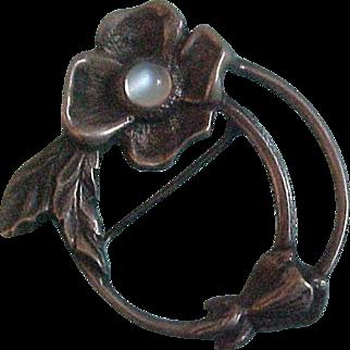 Vintage Sterling & Moonstone Dogwood Floral Brooch by Carl Ruopoli