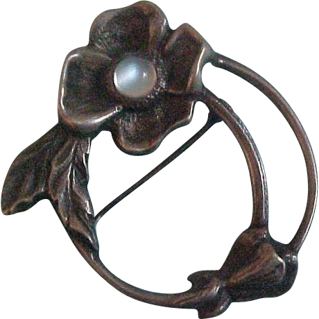 Vintage Sterling & Moonstone Dogwood Floral Brooch by Carl Ruopoli
