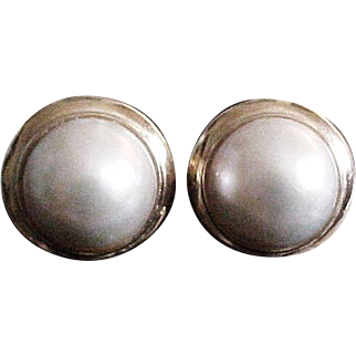 Large Vintage 14K and Mabe Pearl Earrings