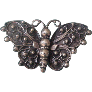 Lillian Pines American Arts & Crafts Sterling Silver Butterfly Brooch Pin