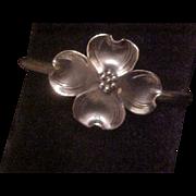 Petite Vintage Stuart Nye Sterling Silver Dogwood Cuff Bracelet