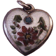 Rare Walter Lampl Sterling Silver &  Enamel December Puffy Heart with Turquoise