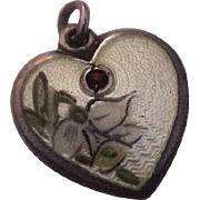 Walter Lampl  Sterling Silver Guilloche Enamel Puffy Heart Charm January