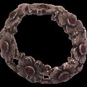 Vintage Carl Ruopoli Sterling Silver & Carnelian Floral Bracelet