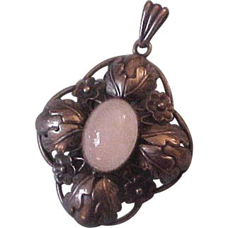 Large Sterling Silver & Moonstone Gussi Sweden Mid Century Pendant