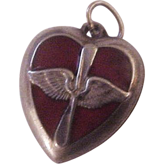 Rare Walter Lampl Sterling and Red Enamel Army Air Corps Puffy Heart