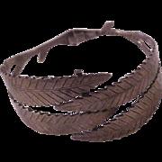 Modernist Sterling Silver Leaf Hinged Bracelet by Gertrude Engel for Anton Michelsen Denmark