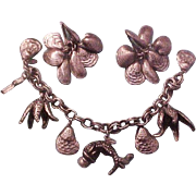 Vintage Napier Sea Life  Charm Bracelet and Earring Set