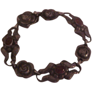 Early Georg Jensen 830 Silver GI Bracelet with Carnelians