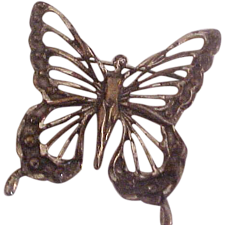 Large Sterling Silver Butterfly with Nude Brooch Pin
